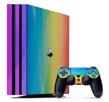 Pour ajouter de la couleur à votre console et votre manette de PS4, rien de tel que ce sticker au style abstrait aux couleurs de l'arc-en-ciel !