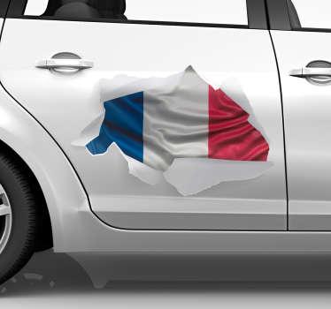 Ce sticker tuning représente le drapeau français dans un style de trompe-l'oeil, qui correspondra à tout type de véhicule.