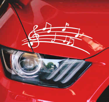 Decorate your car with this stunning vehicle sticker, depicting an amazing selection of vehicle notes, playing a beautiful tune!