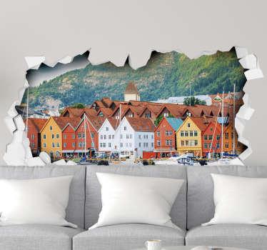 Hus i bergen veggmural 3d-klistremerke
