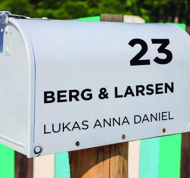 Adresse for postkasse klistremerke