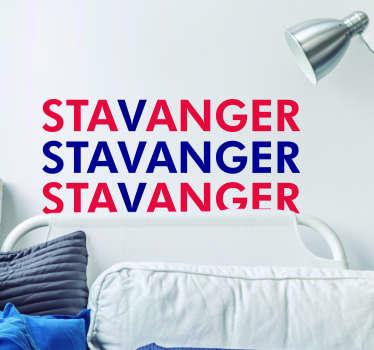 Stavanger tekst klistremerke stue vegg innredning