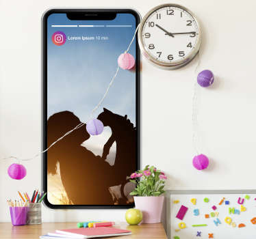 Add an Instagram story to your home with this fantastic customisable wall sticker, ready to accept any photo of your choosing!