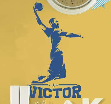 Vinilo pared jugador de baloncesto con nombre