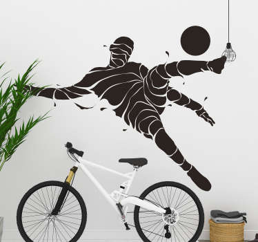 An abstract soccer player wall sticker to decorate any wall space in the home or public sport centers. Available in different size and colours.