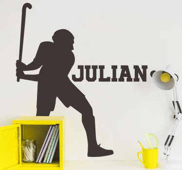 Hockey sport wall sticker with the design of a player with a customize name. Personalize any desired name on the design. Available in any size.