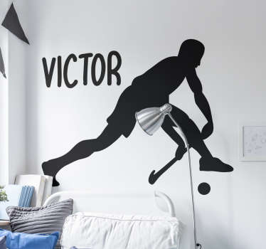 Decorative hockey player wall sticker with personalisable name. Provide a desired name for the design. It is available in different colours and sizes.