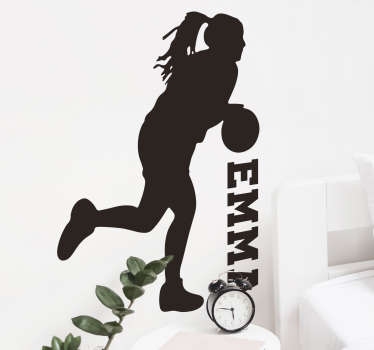 Decorative silhouette basketball player wall decal with a name customization Provide a desired name for the design. Available in different colours.