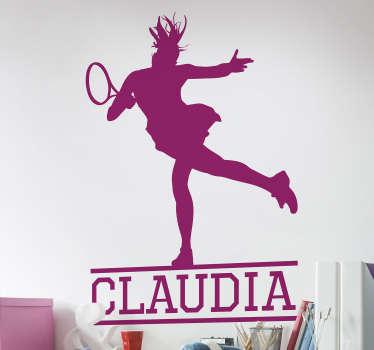 Vinilo deporte jugadora de tenis silueta