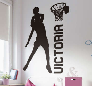 A silhouette basketball wall sticker with the design of a player mate. Available in different colours and any required size.