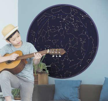 Muurdecoratie stickers kaart van sterrenbeelden