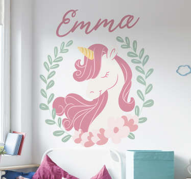 A beautiful unicorn decal with floral. A fairy tale design for kids bedroom and customisable in any name of your choice. Easy to apply