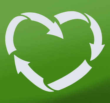 An iconic emoji sticker design of recycling signage  in heart shape. Easy to apply and available in any required size and highly durable..