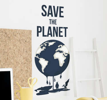An original home wall decal design of globe text inscription '' save the planet''. An easy to apply design with high quality.