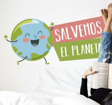 Vinilo pared frase salvemos el planeta