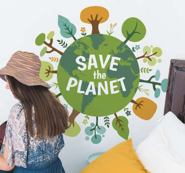 Decorative wall sticker design of a globe and ''save the earth text''. A design that illustrates protecting the earth from depletion.
