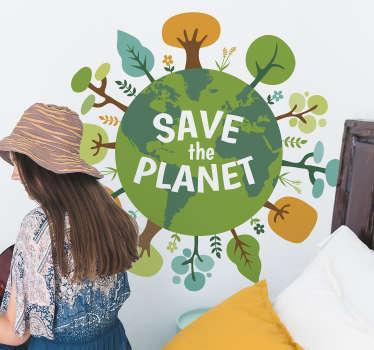 Naklejka z rysunkiem Save the Planet