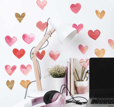 Colorful love wall sticker designed in multiple set of heart. Easy to apply and made from the best of quality vinyl. Available in any required size.