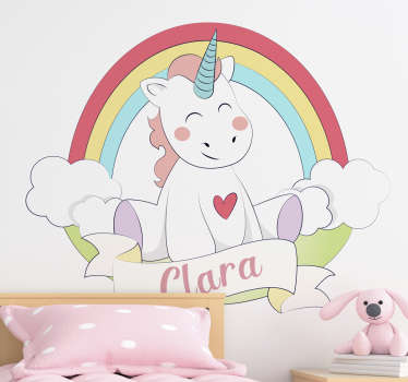 Personalisable fairy tale wall decal with the design of a baby unicorn and rainbow. Provide a name to customize the design.