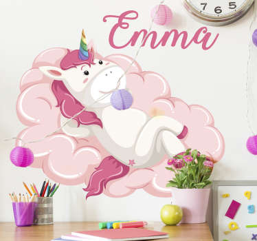 Vinilo infantil unicornio en la nube con nombre