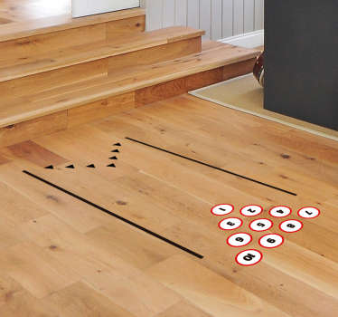 Decorative bowling game floor sticker to place on the floor in the home for recreational bowling sport. Ideal for kids and teens space.