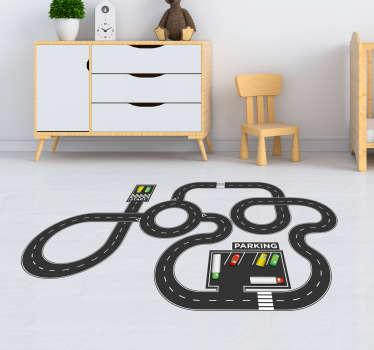 Suelo vinílico circuito coches infantil