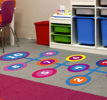 Round hopscotch floor vinyl decal to decorate the children bedroom or play space. Easy to apply and can be chosen in nay desired size.