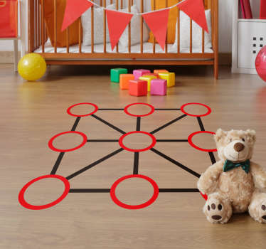 Tic tac toe floor sticker design to decorate the floor space in the home. Ideal for children's bedroom to play the tic tac toe game.
