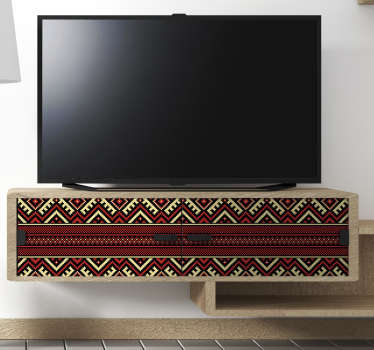 Aboriginal pattern furniture sticker design of tribal art to decorate any furniture surface in the home or office space. Easy to apply.