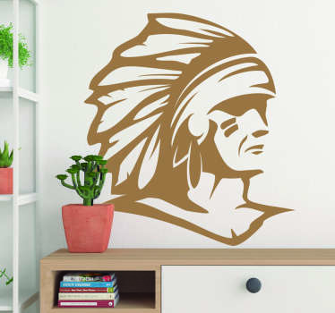 American Indian wall art sticker to decorate the home. Available in different colour and in nay required size. Easy to apply and of high quality.