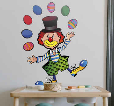 Sticker kinderkamer jongeleren clown circus