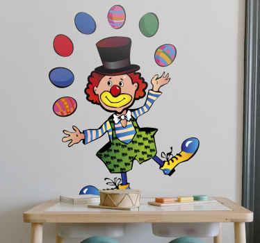 Naklejka żonglujący klaun