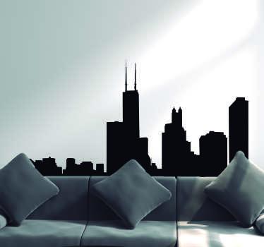 Chicago Skyline Silhouette Sticker