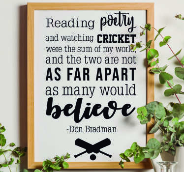 Don Bradman Poetry Living Room Wall Decor