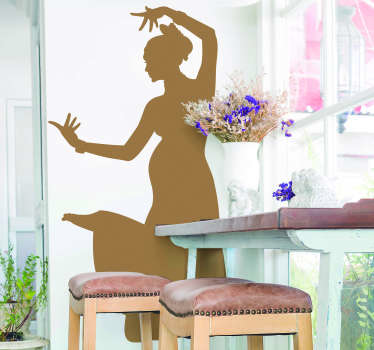 An Indian personality silhouette wall decal designed with a typical dance  posture position of an Indian woman. Available in nay required size.