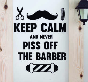 Make sure your customers always remember to be nice in your barber shop with this superbly humorous shop sticker! Easy to apply.