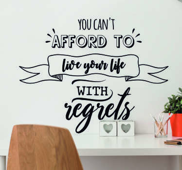 Remind yourself to never live with regrets with this fantastic wall quote sticker, depicting a superb quote from Shane Warne!