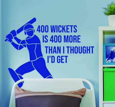 Pay tribute to the wicket taking magic of Shane Warne with this superb cricket quote sticker about his wickets! Easy to apply.