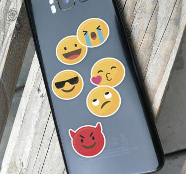 Decorate your Samsung with this fantastic selection of emoji phone stickers, ideal for only the Samsung! Extremely long-lasting material.