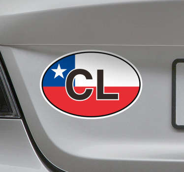 """Pegatina para vehículo formada por las letras C y L de """"CHILE"""" sobre un fondo que representa la bandera del país. Atención al Cliente Personalizada"""