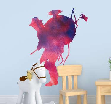 Pegatina infantil formada por el diseño de un chinchinero simulando la pintura acuarela en color rosa y azul marino. Fácil aplicación y sin burbujas.