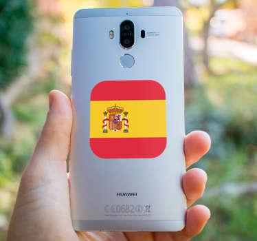 Pegatina para Huawei con la bandera de España en formato cuadrado con los bordes redondeados. Vinilos Personalizados a medida de tu dispositivo móvil.