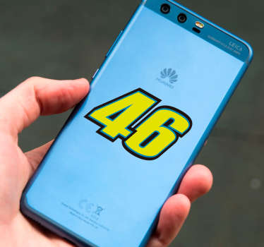 Rossi number 46 huawei decal to decorate an huawei phone in famous motorbike racer number inspiration. Easy to apply with no wrinkle effect.