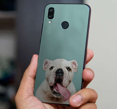 An huawei phone vinyl decal with a bull dog design personalisable with any desired text. Easy to apply and highly durable.
