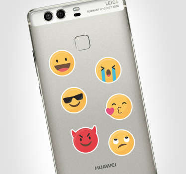 Add some emojis to your Huawei with this fantastic phone sticker, depicting a wide and fun selection of emojis! Extremely long-lasting material.