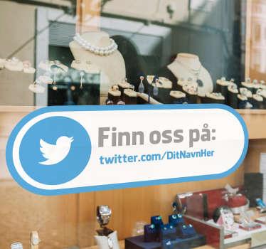 Find os twitter vindue klistermærke