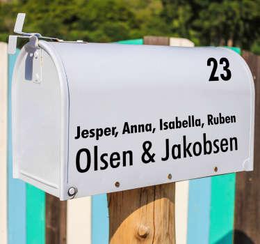 Cool postkasse adresse tekst klistermærker. Klistermærker med postkasser med navne og bolighus: husnummer postkasse klistermærker og andre postkasse klistermærker!