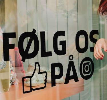 Følg os på instagram logo vindue klistermærke