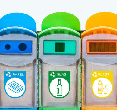 Recycling container klistermærker! Denne recycle klistermærke: et perfekt klistermærke til genbrug dit affald! Recycle container klistermærker og andre container klistermærker!