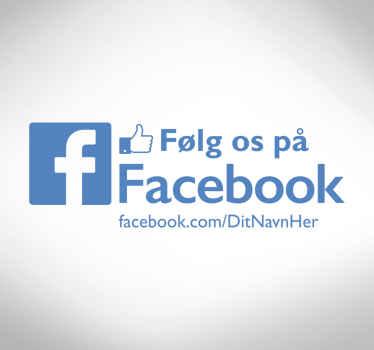 Cool shop vindue facebook logo klistermærke, perfekt til din butik! Lad alle dine kunder vide om dig med facebook, følg os vinduesklistermærker!